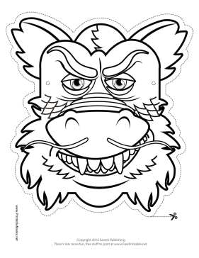 printable chinese dragon mask to color mask