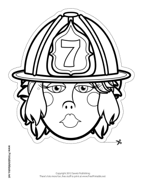 Printable Female Firefighter Mask to Color Mask