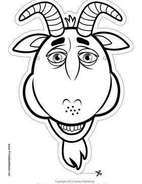 Printable Goat Mask To Color Mask
