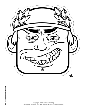 Printable male greek mask to color mask for Ancient greek mask template