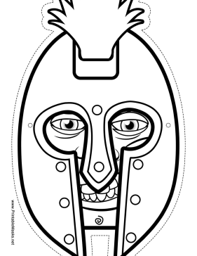 Printable male greek warrior mask to color mask for Ancient greek mask template