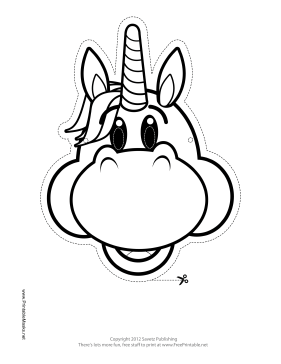Happy Unicorn Mask to Color Printable Mask