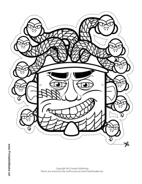 Printable hydra mask to color mask for Ancient greek mask template