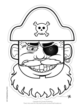 Hat Pirate Mask to Color Printable Mask