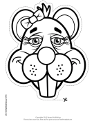 Beaver with Bow Mask to Color