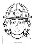 Female Caver-Miner Mask to Color