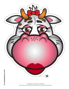 Cow with Bow Mask Printable Mask