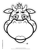 Cow with Bow Mask to Color Printable Mask