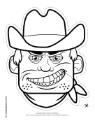 Cowboy Mask to Color Printable Mask