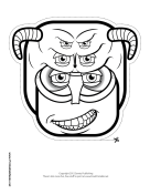 Creature with Horns Mask to Color Printable Mask