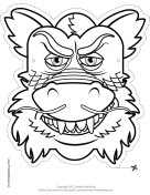 Chinese Dragon Mask to Color
