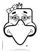 Eagle with Bow Mask to Color Printable Mask
