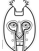Male Greek Warrior Mask to Color Printable Mask