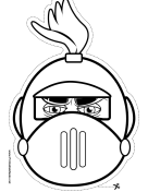 Knight with Crest Round Mask to Color Printable Mask