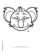 Koala with Bow Mask to Color