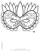 Festive Mardi Gras Mask to Color