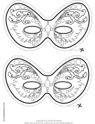 Ornate Mardi Gras Mask to Color