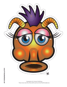 Silly Monster with Horns Mask Printable Mask