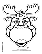 Moose with Bow Mask to Color
