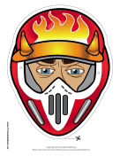 Male Motocross with Horns Mask Printable Mask
