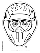 Male Motocross with Horns Mask to Color Printable Mask