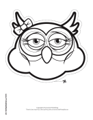 Owl with Bow Mask to Color Printable Mask