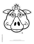 Pig with Bow Mask to Color