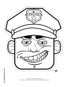 Male Police Officer Mask to Color