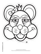 Raccoon with Bow Mask to Color Printable Mask