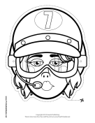Female Racecar Driver Goggles Mask to Color Printable Mask