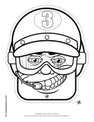 Male Racecar Driver Goggles Mask to Color Printable Mask