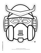 Robot with Horns Mask to Color Printable Mask