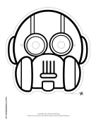 Round Vertical Robot Mask to Color Printable Mask