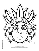 Female Tribal Chief Mask to Color Printable Mask