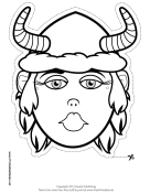 Female Viking with Horns Mask to Color Printable Mask