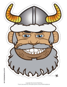 Male Viking with Horns Mask Printable Mask