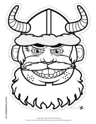 Male Viking with Horns Mask to Color Printable Mask